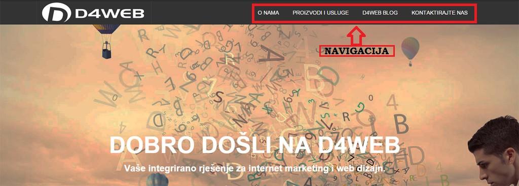 prikaz ucinkovite navigacije web stranice