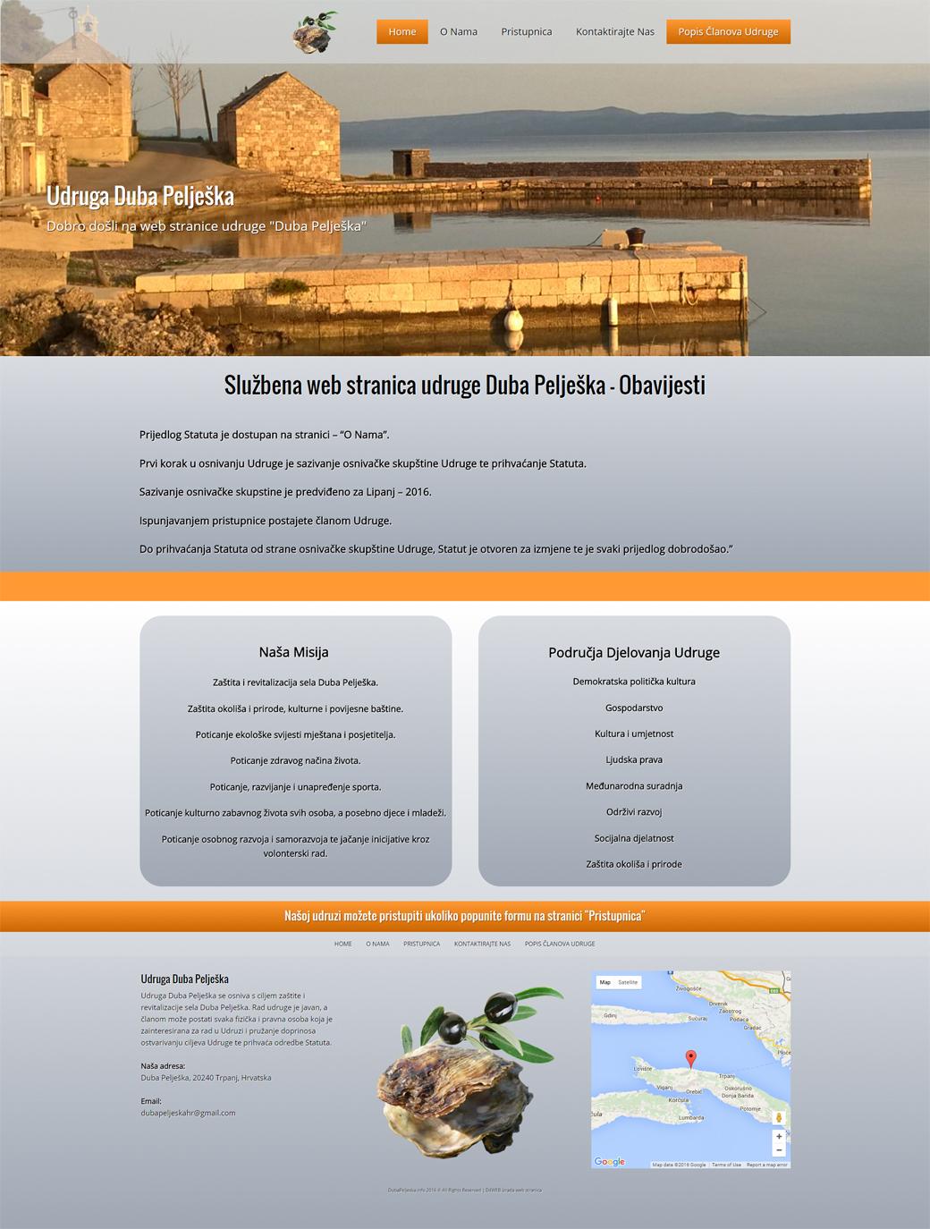 Udruga Duba Pelješka - izrada web stranice
